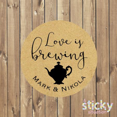 Personalised 'Love is Brewing' Stickers